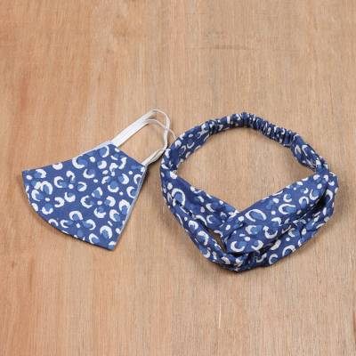 Cotton face mask and headband set, 'Indigo Flowers' - Hand Crafted Blue Cotton Face Mask and Headband Set