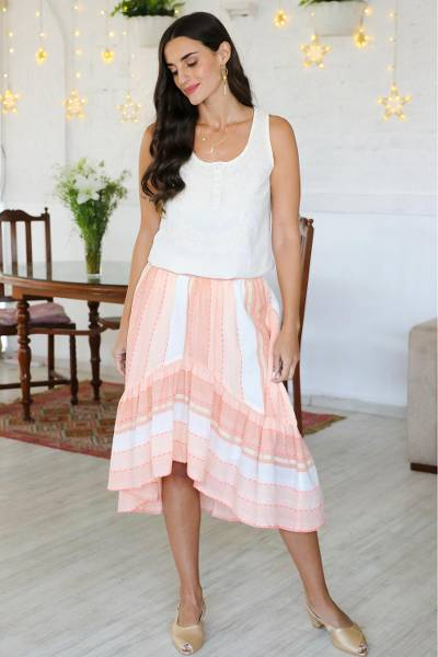 Embroidered cotton high-low skirt, 'Horizon in Peach' - Embroidered Cotton High-Low Skirt from India