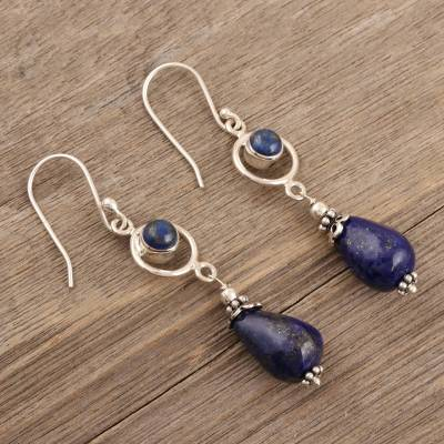 Lapis lazuli dangle earrings, 'Cold Fusion' - Lapis Lazuli and Sterling Silver Dangle Earrings from India