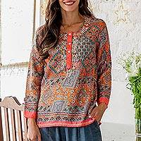 Embroidered tunic, 'City Sunset' - Hand Embroidered Floral Tunic from India