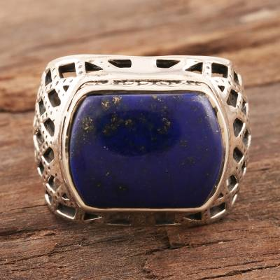 Men's lapis lazuli ring, 'Royal King' - Men's Lapis Lazuli and Sterling Silver Ring from India