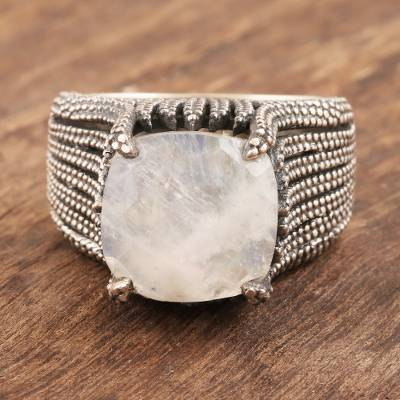 Mens rainbow moonstone ring, Misty River