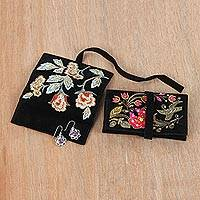 Embroidered jewelry rolls, 'Enchanted Garden' (pair) - Artisan Made Floral Embroidered Jewelry Rolls (Pair)