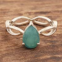Rhodium-plated grandidierite cocktail ring, 'Green Wave' - Rhodium-Plated Sterling Silver Grandidierite Cocktail Ring