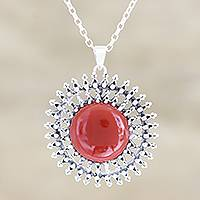 Chalcedony pendant necklace, 'Red Star' - Chalcedony and Sterling Silver Pendant Necklace