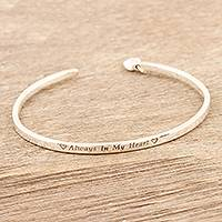 Sterling silver cuff bracelet, 'Heart of Mine' - Sterling Silver Heart Charm Cuff Bracelet form India
