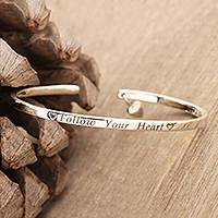 Sterling silver cuff bracelet, 'Follow your Heart' - Hand Made Sterling Silver Heart Charm Cuff Bracelet