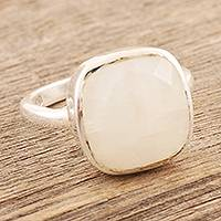 Rainbow moonstone cocktail ring, 'Misty Poetry' - Sterling Silver and Rainbow Moonstone Cocktail Ring