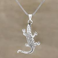 Sterling silver pendant necklace, 'Crawling Crocodile' - Hand Crafted Sterling Silver Crocodile Pendant Necklace