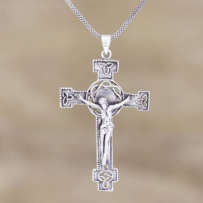 Sterling silver pendant necklace, 'The Savior' - Hand Crafted Sterling Silver Cross Pendant Necklace