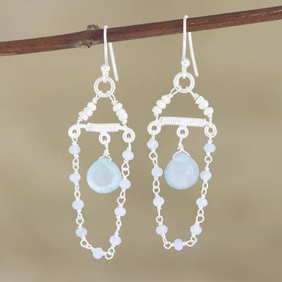 Cultured pearl and chalcedony dangle earrings, 'Blue Chandelier' - Cultured Freshwater Pearl and Chalcedony Dangle Earrings