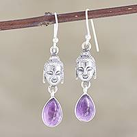 Amethyst dangle earrings, 'Violet Buddha' - Amethyst and Sterling Silver Buddha Dangle Earrings