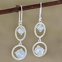 Blue topaz dangle earrings, 'Winter Romance in Blue' - Hand Crafted Blue Topaz and Sterling Silver Dangle Earrings