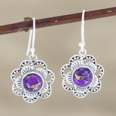 Sterling silver dangle earrings, 'Snow Flowers' - Hand Made Sterling Silver Floral Dangle Earrings