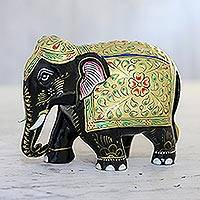 Gold-accented wood statuette, 'Golden Robe' - Hand Carved Kadam Wood and Gold Leaf Elephant Statuette