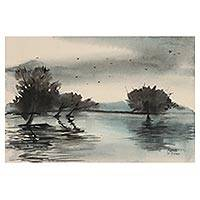 'Flood in Malda' - Indian Watercolor Landscape Painting on Handmade Paper