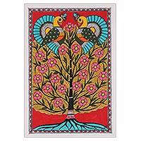 Madhubani painting, 'Spring Greetings' - Acrylic Bird and Tree Painting on Handmade Paper