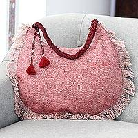 Linen hobo bag, 'Pink Cheer' - Fringed Linen and Cotton Shoulder Bag from India