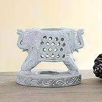 Soapstone tealight holder, 'Twin Elephants' - Artisan Crafted Soapstone Elephant Tealight Holder