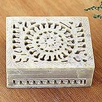 Decorative soapstone box, 'Leaf and Vine' - Hand Carved Decorative Soapstone Floral Box