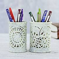 Soapstone pen holders, 'Office Garden' (pair) - Soapstone Elephant and Floral Pen Holders (Pair)