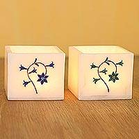 Inlaid marble tealight holders, 'Floral Dance' (pair) - Floral Motif Marble Tealight Holders (Pair)