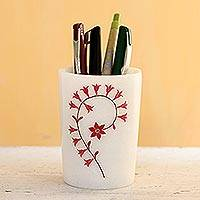 Inlaid marble pen holder, 'Divine Blooms in Red' - Red and White Marble Floral Motif Pen Holder