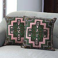 Chain stitched cotton cushion covers, 'Spring Geometry' (pair) - Embroidered Geometric Motif Cotton Cushion Covers (Pair)