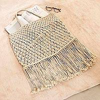 Macrame cotton handle handbag, 'Essential Boho' - Bohemian Macrame Cotton Handle Handbag