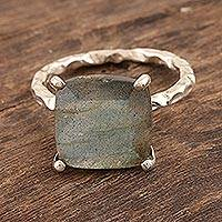 Rhodium-plated labradorite cocktail ring, 'Mystical Morning' - Rhodium-Plated Sterling Silver Labradorite Cocktail Ring