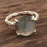 Rhodium-plated labradorite cocktail ring, 'Evening Calm' - Rhodium-Plated Sterling Silver Labradorite Cocktail Ring