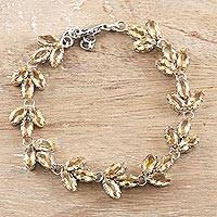 Rhodium-plated citrine link bracelet, 'Leaves in the Sun' - Rhodium-Plated Sterling Silver and Citrine Link Bracelet