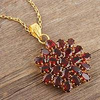 Gold-plated garnet pendant necklace, 'Radiant Sign' - Gold-Plated Sterling Silver Garnet Pendant Necklace