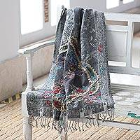Jacquard wool shawl, 'Morning Muse' - Paisley-Patterned Jacquard Wool Shawl