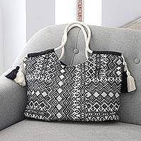 Cotton handle bag, 'Bold Geometry' - Geometric-Patterned Cotton Handle Handbag
