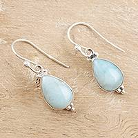 Larimar dangle earrings, 'Quench' - Larimar and Sterling Silver Dangle Earrings
