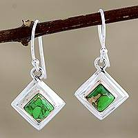 Sterling silver dangle earrings, 'Small Star in Green' - Green Sterling Silver Dangle Earrings