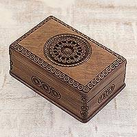 Walnut jewelry box, 'Exotic Radiance' - Carved Walnut Wood Jewelry Box