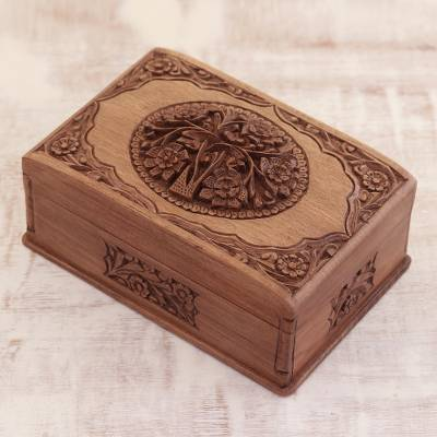 Walnut jewelry box, 'Hypnotic Tree' - Floral Carved Wood Jewelry Box