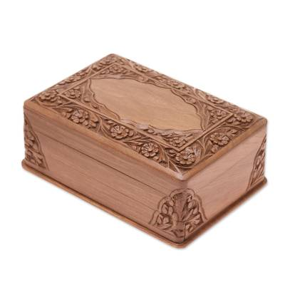Walnut jewelry box, 'Kashmir Valley' - Indian Floral Wood Jewelry Box