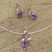 Amethyst jewelry set, 'Mauve Blushing Leaves' - Fair Trade Sterling Silver and Amethyst Floral jewellery Set