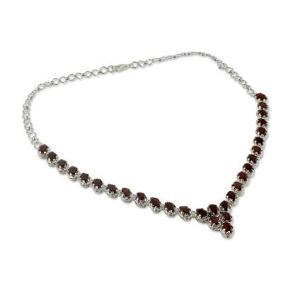 Fair Trade Garnet Choker Necklace Sterling Silver Love