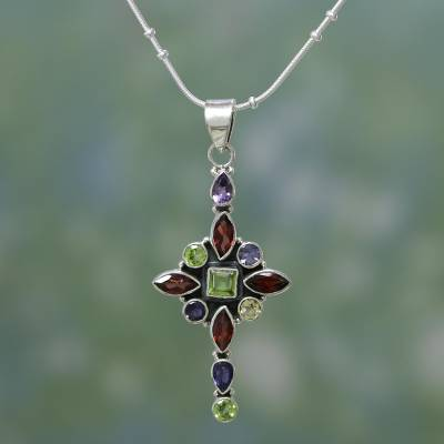 Amethyst and garnet pendant necklace, 'Star Cross' - Multigem Cross in Sterling Silver Necklace from India