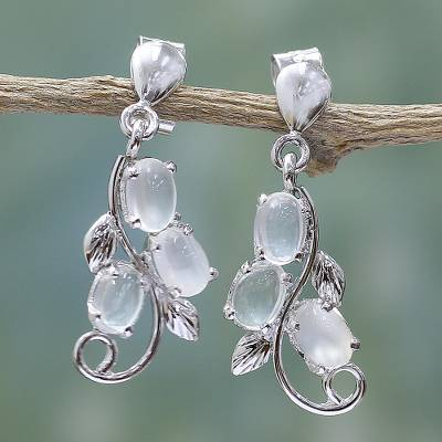 Moonstone earrings, 'Shining Cloud' - Sterling Silver Earrings Moonstone Earrings Artisan Jewelry