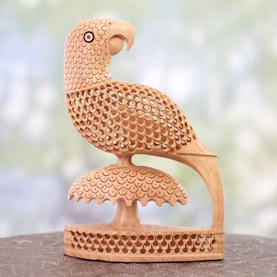 Wood statuette, 'Perky Parrots' - Handcrafted Indian Wood Bird Sculpture