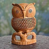 Wood statuette, 'Night Owl' - Artisan Crafted Wood Bird Sculpture