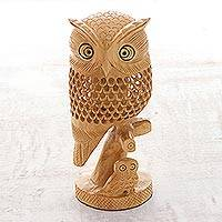 Wood statuette, 'Latticework Owls - Hand Crafted Wood India Jali Sculpture