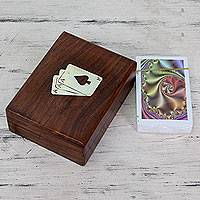 Wood box and playing cards, 'Ace of Spades' - Set of Playing Cards in Wood with Brass Inlay Box