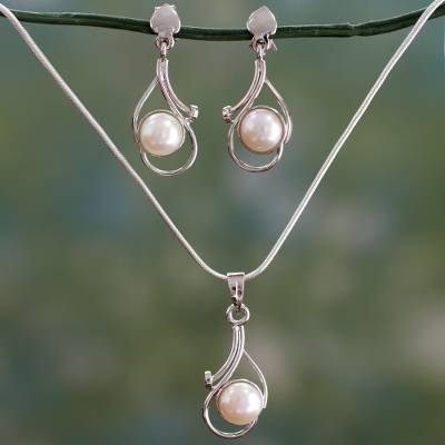Pearl jewelry set, 'Lunar Magic' - Bridal Pearl Jewelry Set Sterling Silver Necklace Earrings