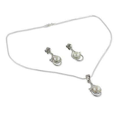 Bridal Pearl Jewelry Set Sterling Silver Necklace Earrings